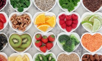 Super food selection for health diet in heart-shaped bowls